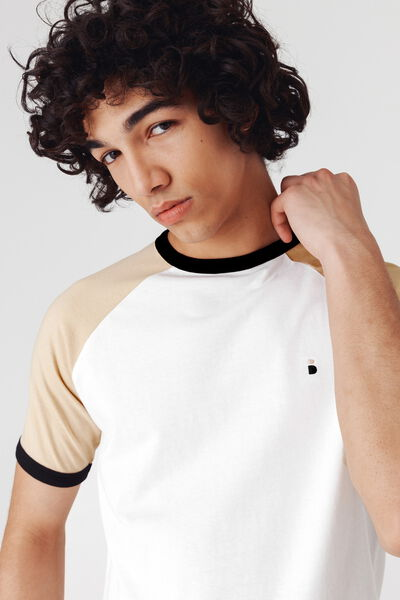 T-shirt raglan contrasté en coton bio