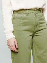 Jean couleur jambes larges cropped
