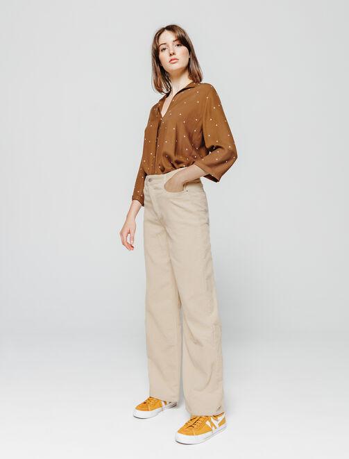 Pantalon fluide large velours femme