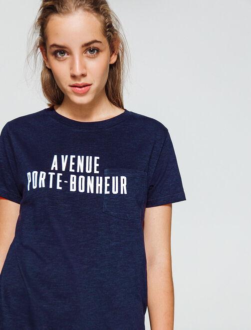 """T-shirt à message """"AVENUE PORTE-BONHEUR"""" femme"""
