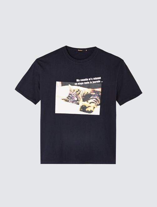"""T-shirt message """"Ma couette m'a retenue en otage t femme"""