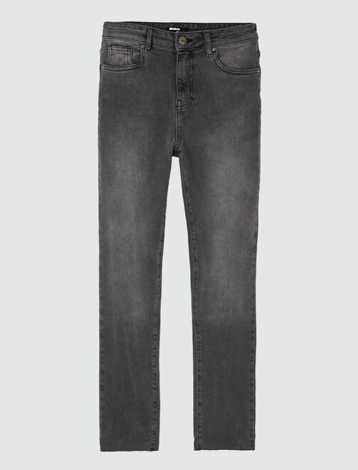 Jean cropped straight taille haute femme