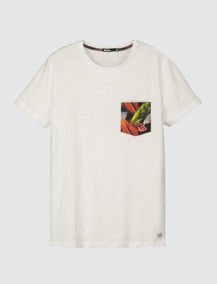 T-shirt uni poche imprimée feuilles
