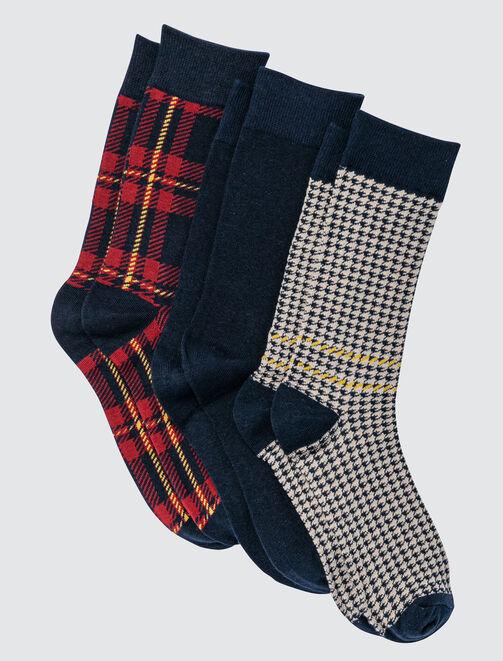Lot de 3 Chaussettes Pied de Poule et Carreaux homme