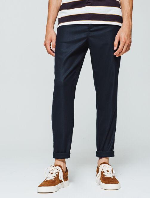 Pantalon de ville uni raccourci homme