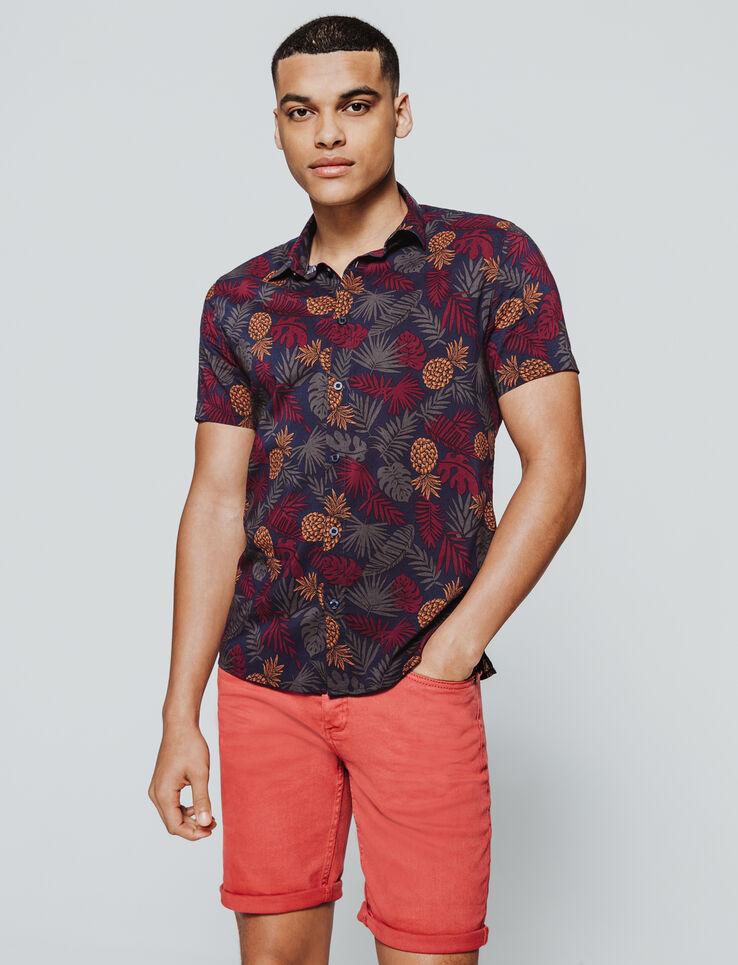 Chemise manches courtes imprimée tropical