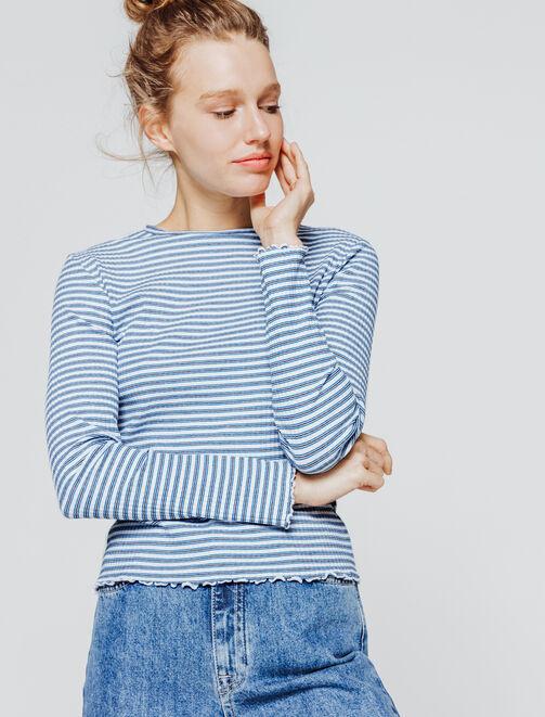 T-shirt à côtes rayé femme