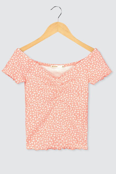 T-shirt encolure bardot en coton bio