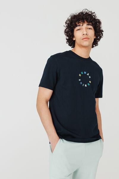 T-shirt broderie multicolore en coton BIO