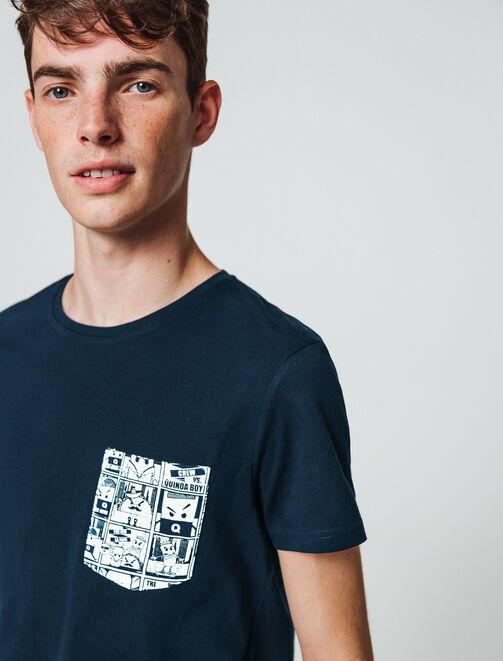 T-shirt uni poche contrastante imprimée homme