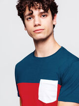 T-shirt colorblock poche contrastée