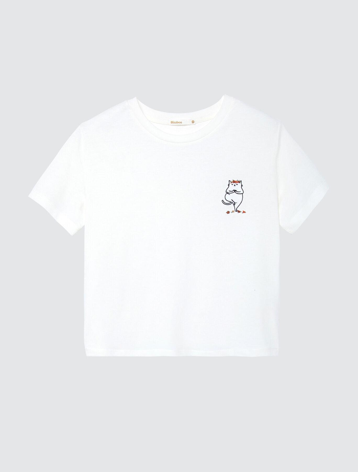 T-shirt  en coton bio et chat yoga