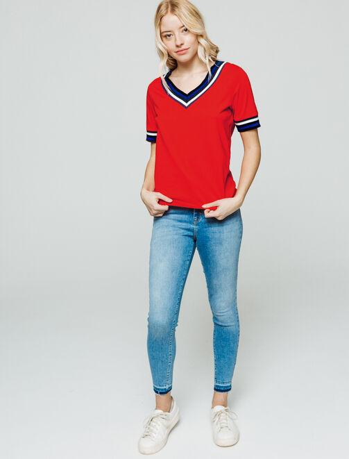 T-shirt col V sportif  femme