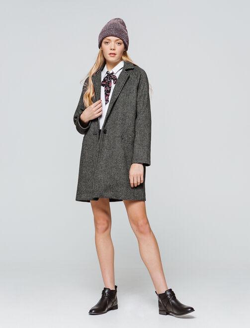 Manteau lainage carreaux - laine majoritaire femme