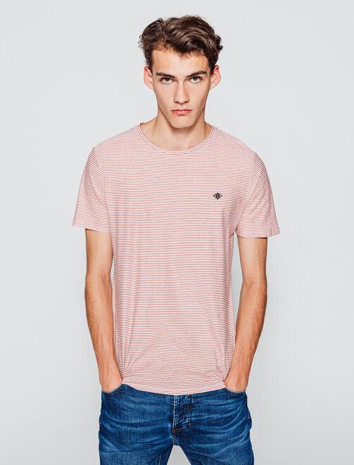 T-shirt rayé avec broderie poitrine homme