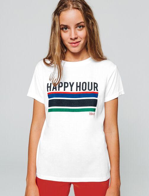"""T-shirt à message """" Happy Hour"""" femme"""