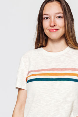 T-shirt fantaisie à rayures placées