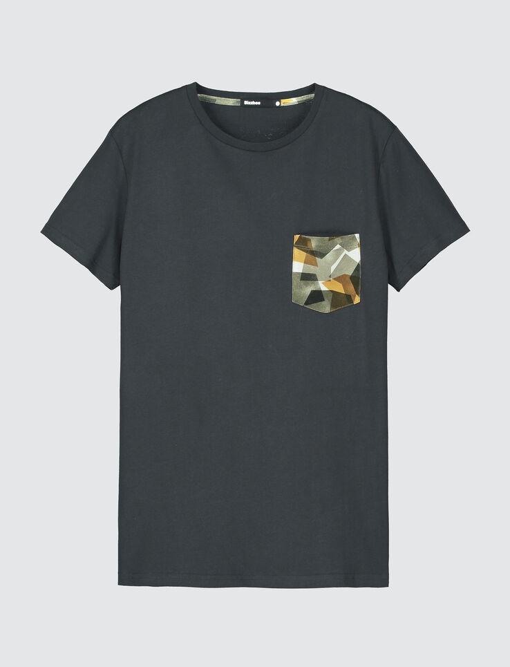 T-shirt uni poche imprimée camouflage graphique