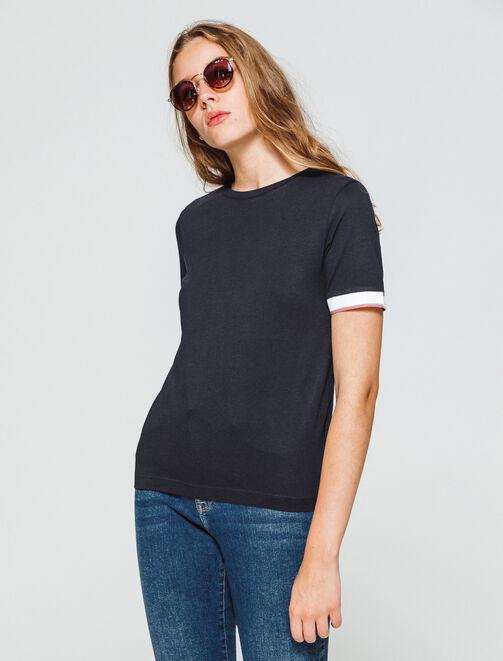 T-shirt fluide avec détails manches  femme