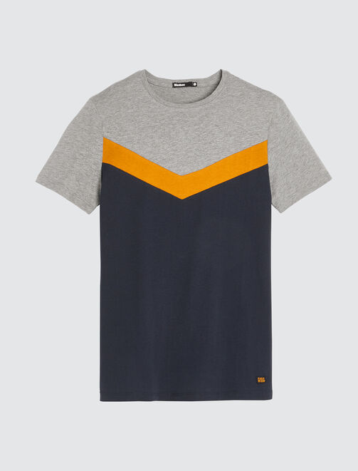 T-shirt coloblock forme V homme