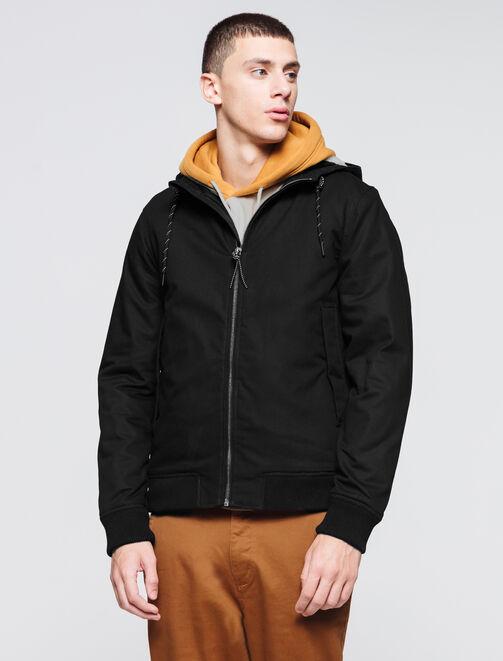 Blouson à capuche doublé sherpa homme