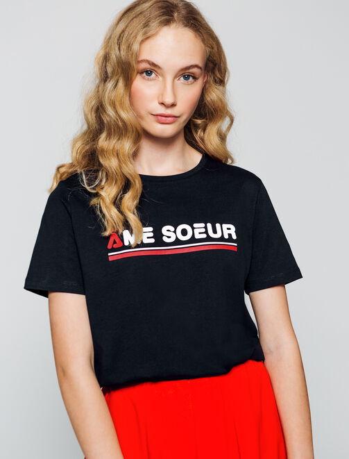 """T-shirt message """" Âme Sœur"""" femme"""
