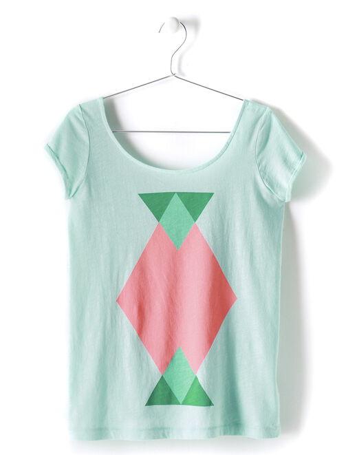 T-shirt manches courtes imprimé décolleté dos femme