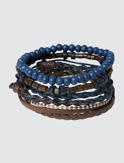 Set de Bracelets Coloris Marron Bleu homme