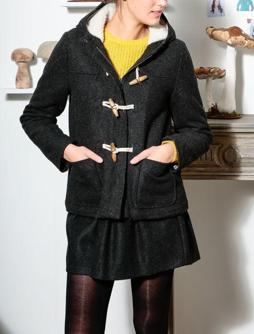 Duffle coat court lainage à capuche femme