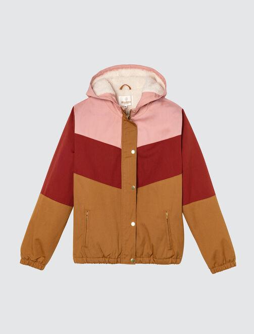 Blouson color block doublé sherpa femme