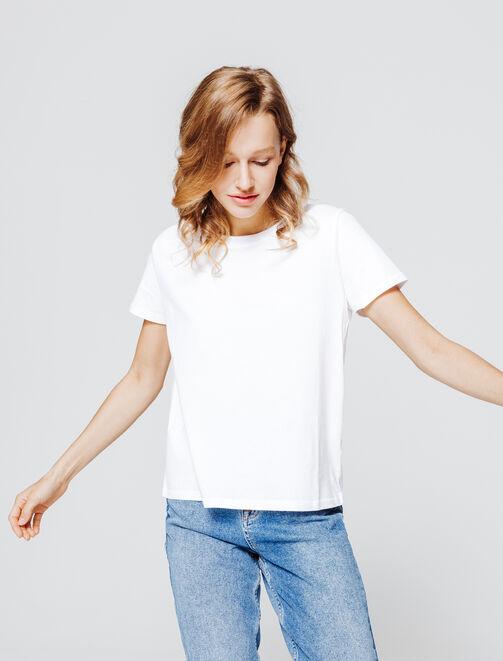 T-shirt col rond uni en coton bio femme