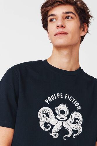 """T-shirt humour """"Poulpe fiction"""" en coton BIO"""