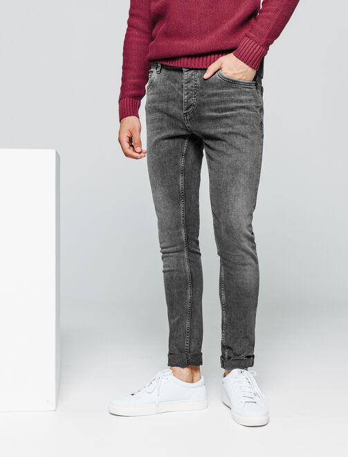 Jean skinny noir délavé homme