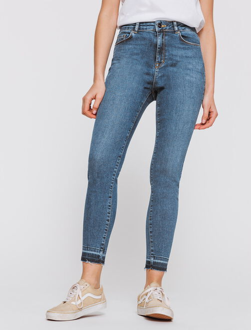 Jeans skinny cropped taille haute femme