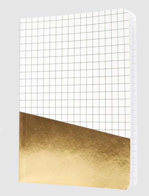 Carnet colorblock carreaux et or femme