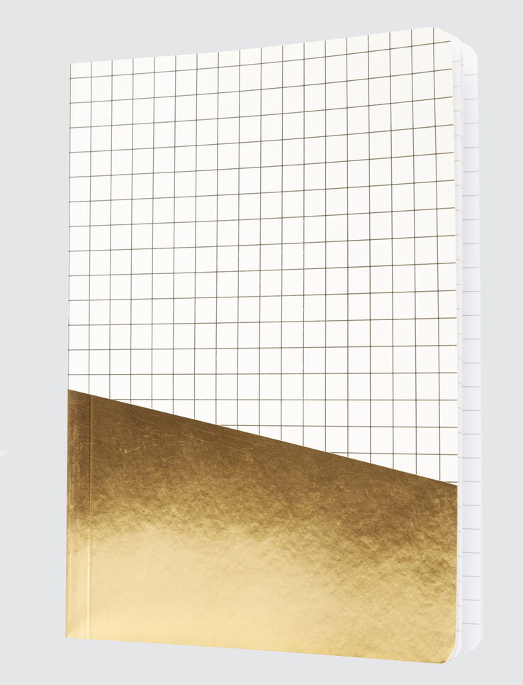 Carnet colorblock carreaux et or