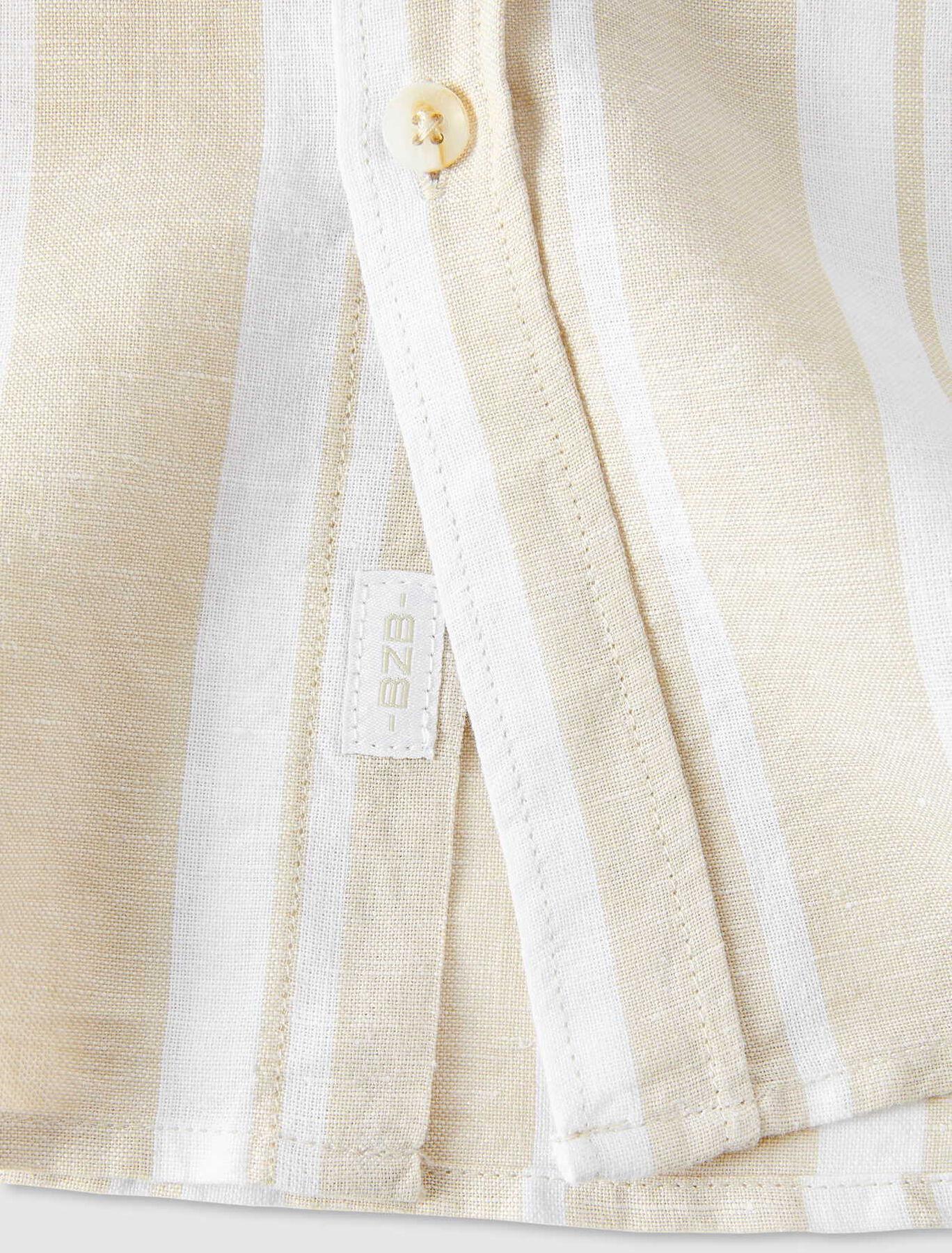 Chemise rayée en coton/lin