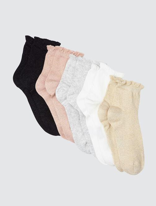 Lot de 5 Chaussettes Hautes Lurex Froncées femme