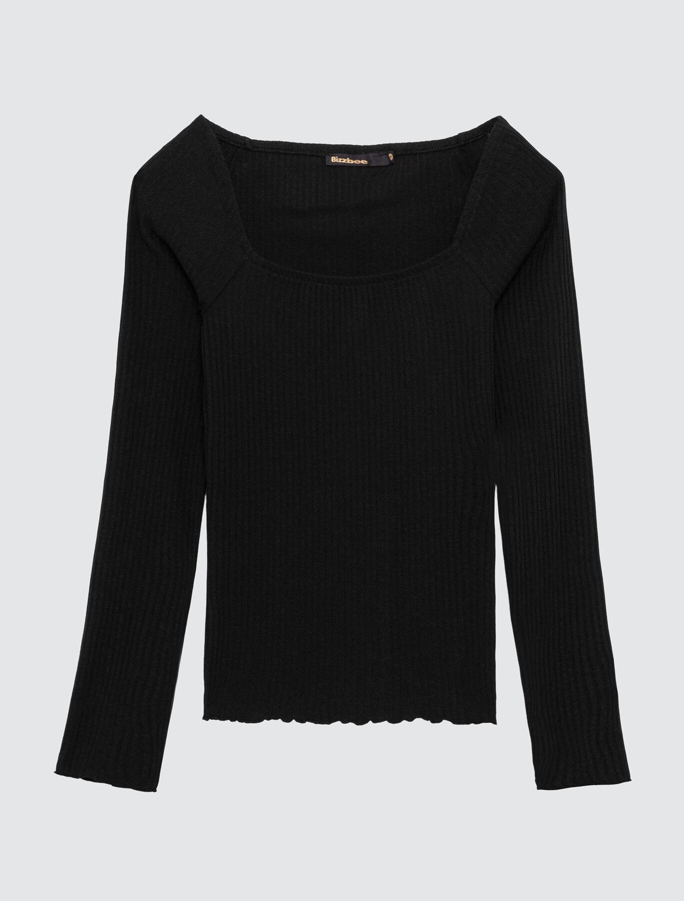 T-shirt manches longues encolure carrée
