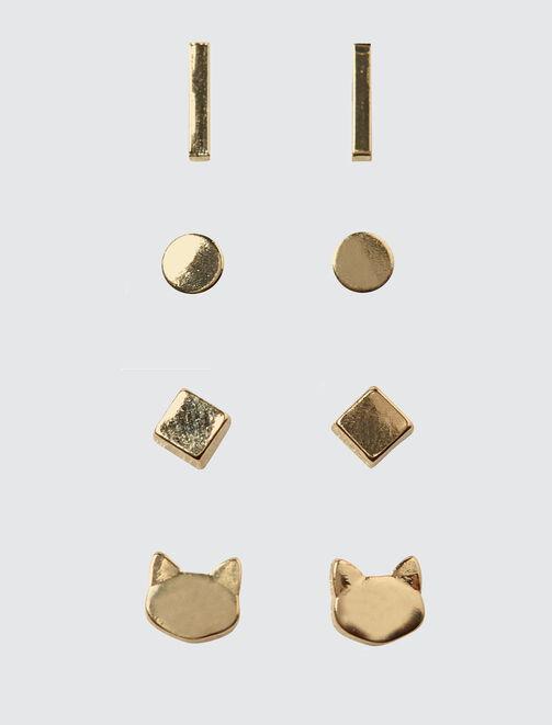 Set 4 Boucles d'Oreilles Chat femme