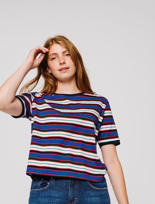 T-shirt boxy à rayures  femme