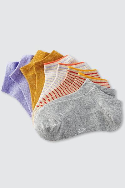 Lot de 5 paires de socquettes lurex + rayures IAB