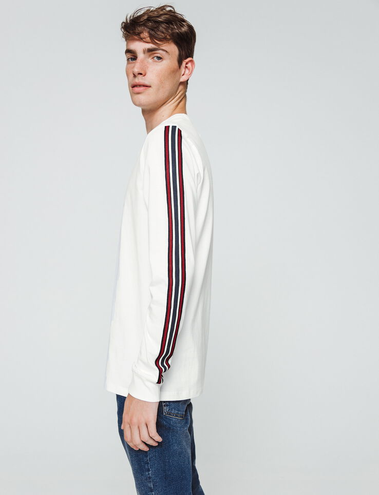 T-shirt uni manches longues bande sport rayée