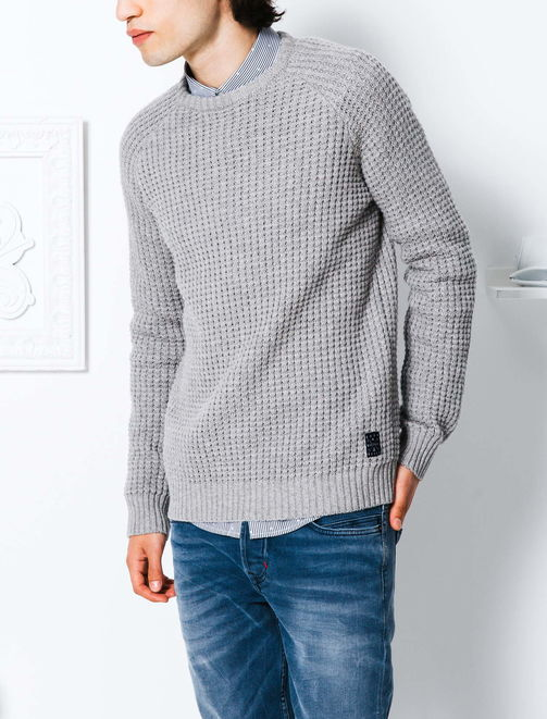 Pull col rond point fantaisie et laine homme