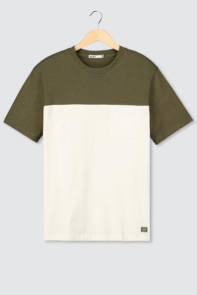 T-shirt loose colorblock avec poche