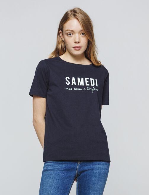 T-shirt  à message jours de la semaine femme