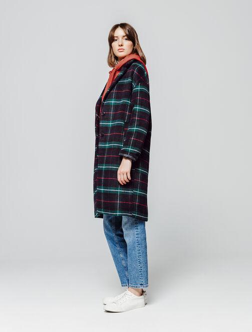 Manteau Mi Long à Carreaux en Laine femme