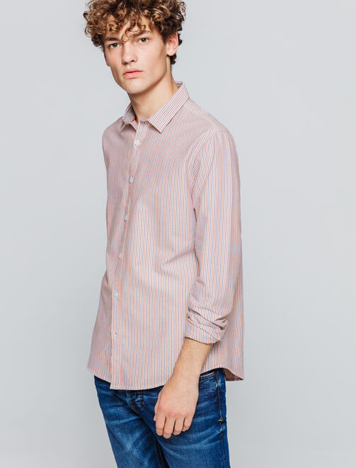 Chemise oxford à rayures tricolores homme
