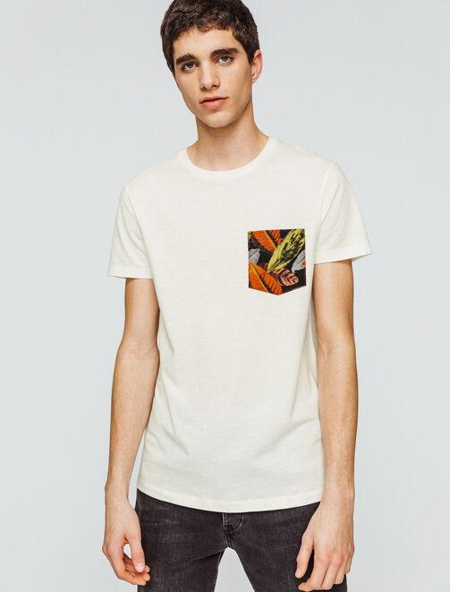 T-shirt uni poche imprimée feuilles homme