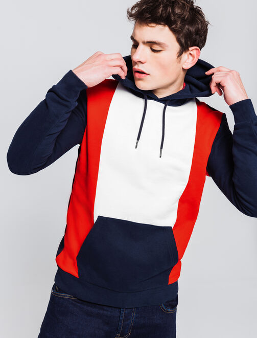 Sweat colorblock bandes verticales homme